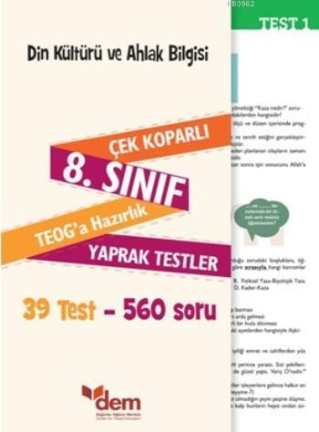 Din Kültürü ve Ahlak Bilgisi 8. Sınıf Teog'a Hazırlık Yaprak Testler; Çek Koparlı 39 Test - 560 Soru